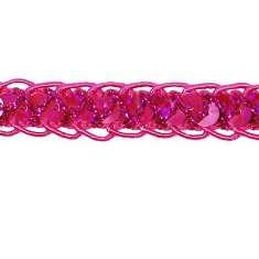 E4570  Fuchsia Holographic Braided Cord Sequin Trim