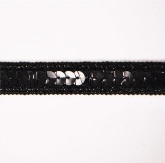 "E6168  Black Sequin Sewing Craft Trim 1/2"""