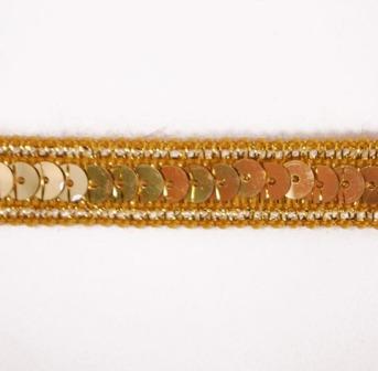 "E6168  Gold Sequin Sewing Craft Trim 1/2"""