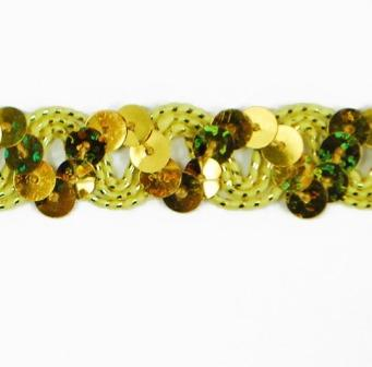 """E6176  Gold Holographic Ric Rac Sequin Sewing Craft Trim 5/8"""""""