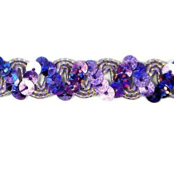 """E6176  Purple Holographic Ric Rac Sequin Sewing Craft Trim 5/8"""""""