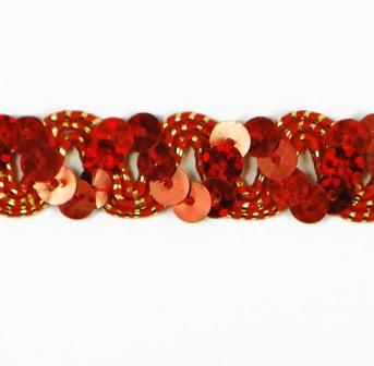 """E6176  Red Holographic Ric Rac Sequin Sewing Craft Trim 5/8"""""""