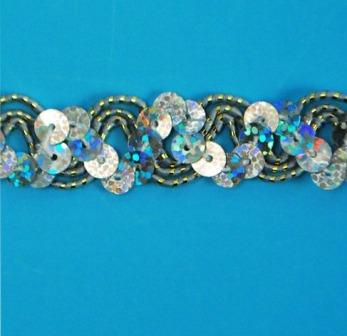 """E6176  Silver Holographic Ric Rac Sequin Sewing Craft Trim 5/8"""""""