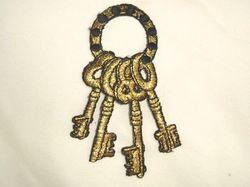 """F18  Keys to the Kingdom Embroidered Applique 4"""""""