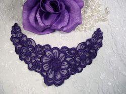 """F14  Purple Yoke Collar Venise Lace Applique 6.5"""""""