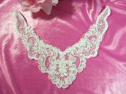 "F32  White Venise Lace Collar Sequin Beaded Applique 6"""