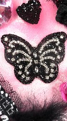 JB100 Black Beaded Crystal Rhinestone Butterfly Applique 4.5""