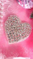 "JB101 Crystal Rhinestone Heart Beaded Applique w/ Silver Beads 2"""