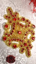 JB115 Red Rhinestone Applique Gold Beaded 4""