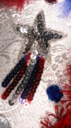 JB103 Star  Applique Shooting Patriotic Sequin Silver Beaded 3.5""