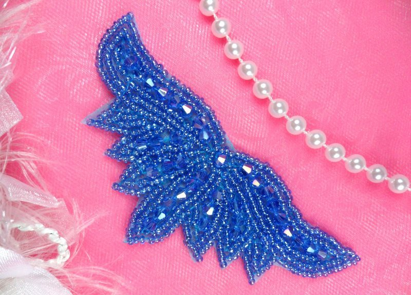 """Beaded Applique Blue AB Dance Motif Clothing Sewing Patch 4"""" JB107"""