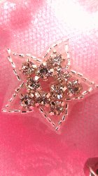 JB108 Crystal Rhinestone Applique Silver Beaded Star  1""