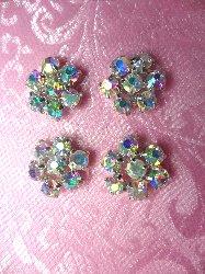 "JB114 Set of ( 4 ) Flower Crystal AB Aurora Borealis Rhinestone Appliques .5"""