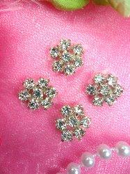 "JB114 Set of ( 4 ) Flower Crystal Rhinestone Appliques .5"""