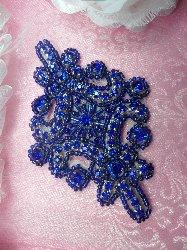 "JB115 Blue Applique Crystal Rhinestone Blue Beaded 4"""