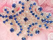"Blue Glass Rhinestone Applique Silver Beaded Iron On Embellishing Patch High Quality 4"" (JB115)"