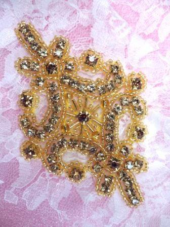 JB115 Applique Champagne Rhinestone Gold Beaded 4""