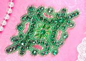 """Green Applique Crystal Rhinestone Green Beaded 4""""  XR391-gr"""