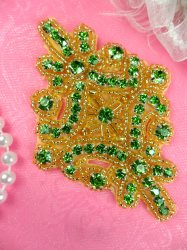JB115 Glass Rhinestone Applique Lime Green Gold Beaded Motif 4""