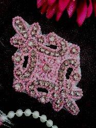 "JB115 Applique Mauve Pink Rhinestone Light Pink Beaded 4"""