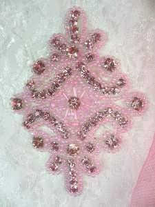 "JB115 Applique Mauve Pink Rhinestone Pink Beaded  4"""