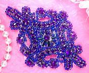"Purple Applique Crystal Rhinestone Purple Beaded 4""  XR391"