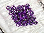 "Lavender Rhinestones Purple Beaded Applique with Lavender Backing 4"" (JB115)"