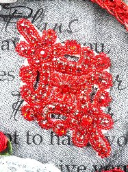 JB115  Applique Red Rhinestones Red Beaded 4""
