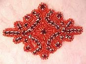 Glass Rhinestone Applique Deep Red Beaded Iron On Embellishing Patch High Quality 4