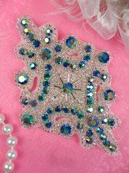 "JB115 Glass Rhinestone Applique Turquoise Aurora Borealis Silver Beaded Motif 4"""