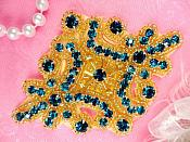 "Glass Rhinestone Applique Turquoise Gold Beaded Motif 4""  XR391"