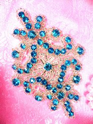 JB115  Turquoise Applique Crystal Rhinestone Silver Beaded 4""