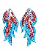 """Appliques Flames Turquoise Red Silver Sequin Beaded MIRROR PAIR 6""""  JB117X"""