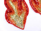 "Flame Appliques HOLOGRAPHIC Sequin Beaded Red Orange Gold MIRROR PAIR 6""  JB117X"