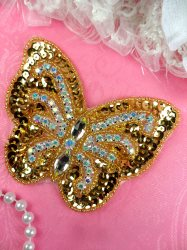 JB119 Rhinestone Applique Crystal AB Butterfly Gold Beaded Patch 4.25""