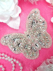JB119 Butterfly Applique Crystal Rhinestone Silver Beaded Silver Sequin 4.25""
