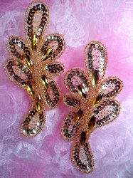 """JB120  Appliques Mirror Pair Gold Jeweled Sequin Beaded  5.25"""""""