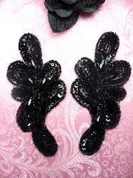 "JB120  Appliques Mirror Pair Black Jeweled Sequin Beaded  5.25"""