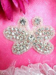 "JB121 Crystal Rhinestone Butterfly Applique Silver Beaded 2.5"""