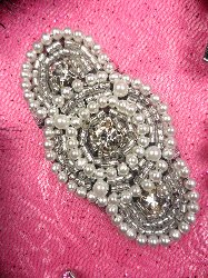JB129 Silver Beaded Rhinestone Pearl Applique With Black Backing 2.25""