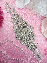 """JB133 Pearl Applique Silver Beaded Crystal Rhinestone 10"""""""