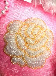 """JB135 Crystal Gold """"Glorious Rose"""" Beaded Applique 3"""""""