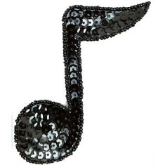 "JB141 Black Applique Music 1/4 Note Sequin Beaded 3.75"""