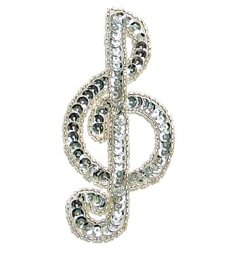 JB142 Music Note Applique Silver G Clef Sequin Beaded 3.75""