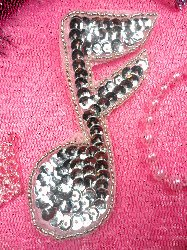 JB143 Silver Applique Music Note Sequin Beaded 3.75""