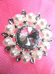 RMJB147 REDUCED Silver Crystal Clear Rhinestone and Pearl Button 1""