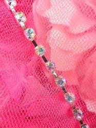 "JB148  Aurora Borealis Elegant Rhinestone Chain Sewing Trim 1/8"""