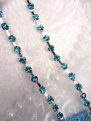 "JB148 Turquoise Elegant Rhinestone Chain Sewing Trim 1/8"""