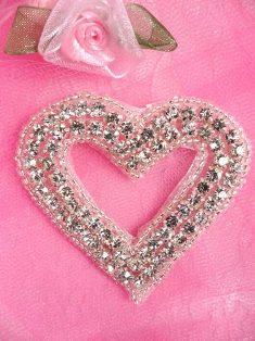 "JB15 Silver Beaded Heart Crystal Rhinestone Applique 2.5"""