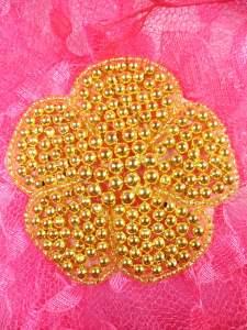 """JB151 Flower Applique Gold Beaded Floral DIY 3"""""""